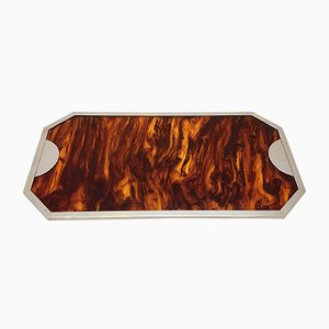 Plexiglas, Tortoiseshell, Brass & Chrome Tray by Willy Rizzo, 1970s
