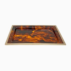Plexiglas, Tortoiseshell & Brass Tray by Willy Rizzo, 1970s