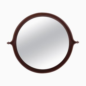 Italian Round Mirror with Dark Wood Frame, 1960s