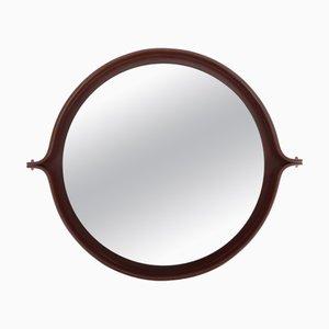 Italienischer Runder Spiegel mit Dunklem Holzrahmen, 1960er