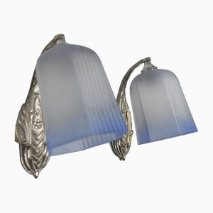 Art Deco Bronze and White and Blue Frosted Glass Sconces, 1920s, Set of 2