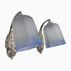 Art-Deco-Wandlampen aus Bronze und weißem und blauem Milchglas, 1920er Jahre, 2er-Set
