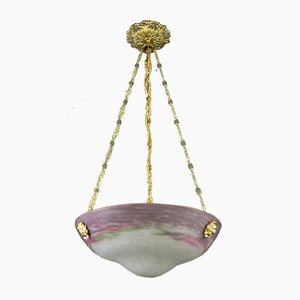 Art Nouveau Glass Bowl Ceiling Lamp, 1920s