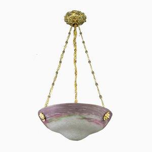 Jugendstil Glasschale Deckenlampe, 1920er
