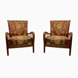 Cherry Wood Lounge Chairs by Paolo Buffa, 1950s, Set of 2