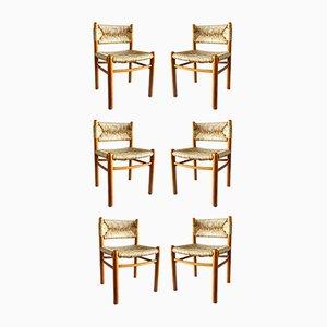 Sedie Dordogne di Charlotte Perriand per Robert Sentou, anni '60, set di 6