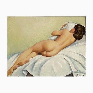 Scuola francese XX, retro, olio su tela