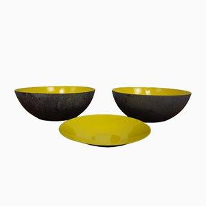 Yellow Krenit Bowls by Herbert Krenchel Torben Ørskov, Set of 3, 1960s