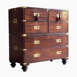 19th Century Military Campaign Chest of Drawers in Teak, 1850s