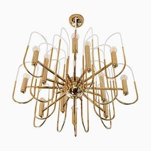 Lámpara de araña italiana Mid-Century de latón y vidrio de Sciolari, años 60