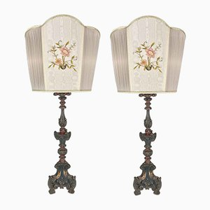 Embroidered Lounge Lamps with Fans, Set of 2
