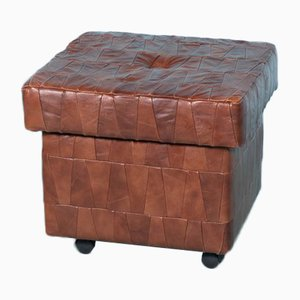 Vintage Leather Patchwork Pouf with Storage Space in the Style of de Sede