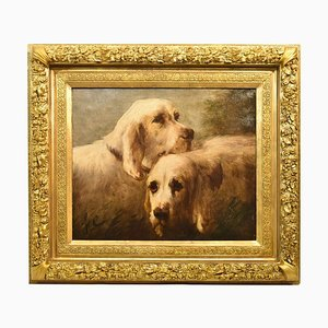 Dogs Portraits, Antique Painting, French Oil Painting on Canvas, 19th Century