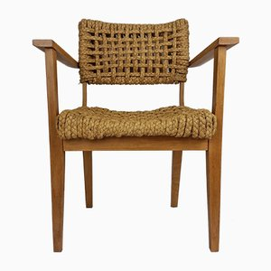 Oak & Rope Armchair by Adrien Audoux & Frida Minet, 1950s