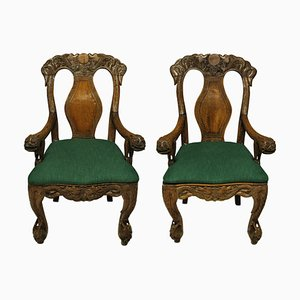 19th-Century Chinese Armchairs, Set of 2