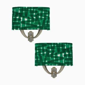 Italienische Wandlampen aus Silber und Stoff, 1950er Jahre, 2er-Set