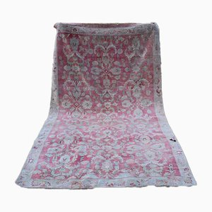 Vintage Turkish Karapinar Rug in Muted Colours with Floral Pattern, 1970s