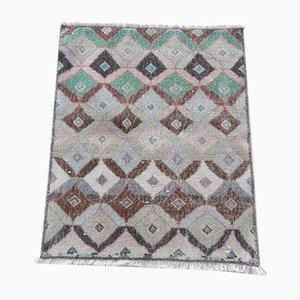 Türkischer Handgeknüpfter Quadratischer Niedriger Stapel Teppich, 1970er