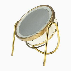 Back Lid Brass Vanity Magnifying Table Mirror, 1970s