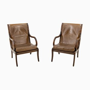 Vintage English Leather Library Chairs, 1954, Set of 2