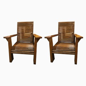 French Wooden Armchairs, 1940s, Set of 2