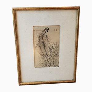 Eugene Jean Sulpis, Frau am Strand, Zeichnung