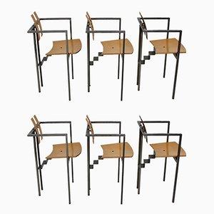 Chaises de Salon Postmodernes en Métal et en Contreplaqué de Hêtre, 1990s, Set de 6