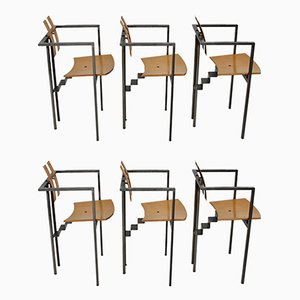 Postmodern Metal and Beech Plywood Dining Chairs, 1990s, Set of 6
