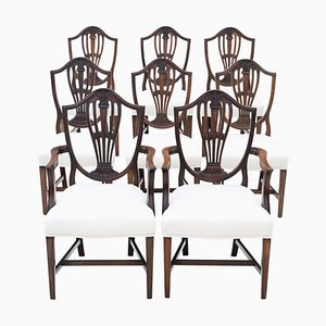 Georgian Mahogany Dining Chairs, Set of 8