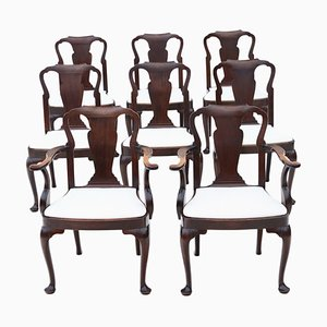Antique Queen Anne Mahogany Dining Chairs, Set of 8