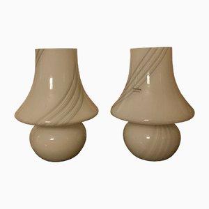 Italienische Murano Glas Tischlampen von Paolo Venini für Venini, 1970er, 2er Set