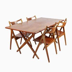 Sedie da pranzo AT303 di Hans J. Wegner per Andreas Tuck, anni '50, set di 5