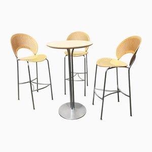 Dänische Trinidad Barhocker und Tisch von Nanna Ditzel für Fredericia, 1990er, 4er Set