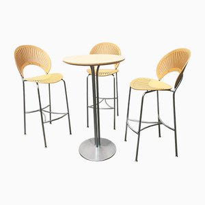 Danish Trinidad Barstools and Table by Nanna Ditzel for Fredericia, 1990s, Set of 4