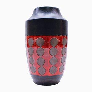 Fat Lava Ceramic Floor Vase with Fish Motif, 1960s