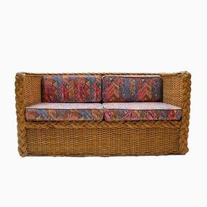 Italienisches Rattan 2-Sitzer Sofa, 1970er