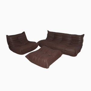 Vintage French Madras Brown Togo Living Room Set by Michel Ducaroy for Ligne Roset, Set of 3