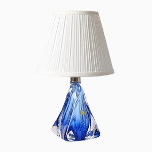 Mid-Century Blue Glass Table Lamp from Val Saint Lambert, 1950s