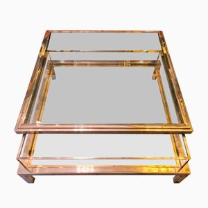 Chrome, Steel and Gold Coffee Table, 1970s