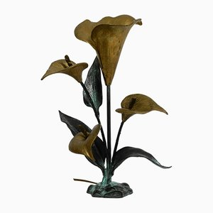Large Italian Floral Bronze & Brass Table Lamp, 1970s