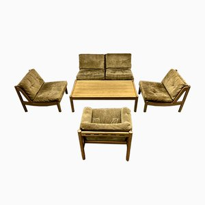 Vintage Solid Oak and Green Suede Living Room Set, Set of 6