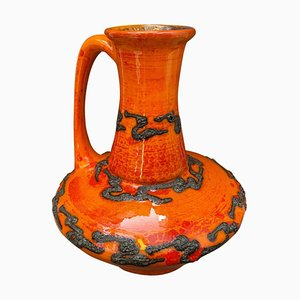 Mid-Century Modern Fat Lava Orange Ceramic German Jug from Scheurich, 1970s