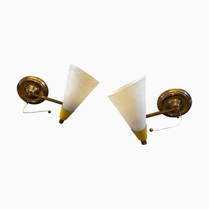 Mid-Century Modern Brass and Glass Foldable Sconces from Stilnovo, 1950s, Set of 2