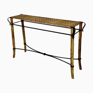 Consolle in ferro battuto fatta a mano in vimini di bambù, Italia, anni '50