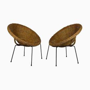 Poltrone in rattan e bambù con gambe in metallo nero, set di 2