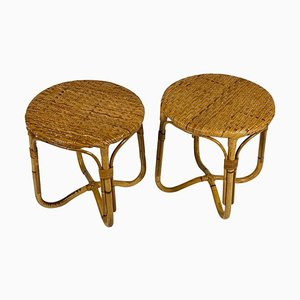 Italian Rattan Bamboo Side Tables / Stools, 1950s, Set of 2