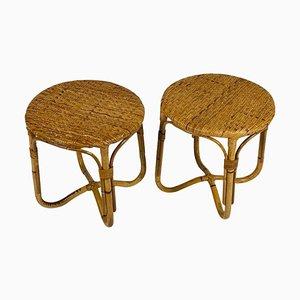 Tavolini / sgabelli in vimini, Italia, anni '50, set di 2