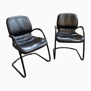 Leather Strafor Armchairs, 1990s, Set of 2