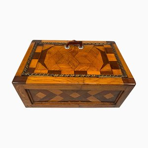 Large Historicism Box in Different Hardwoods, South Germany, 1800s,