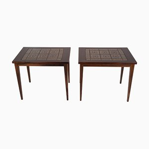 Rosewood Bedside Tables with Brown Tiles, Denmark, 1960s, Set of 2
